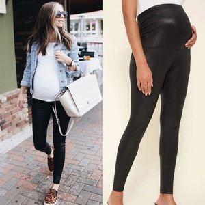 MATERNITY vegan leather leggings black spanx style